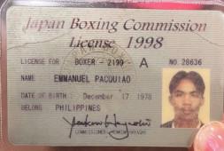 Кадр дня: Боксерская лицензия Пакьяо из прошлого века