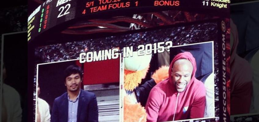 Кадр дня: Мейвезер и Пакьяо на баскетбольном матче